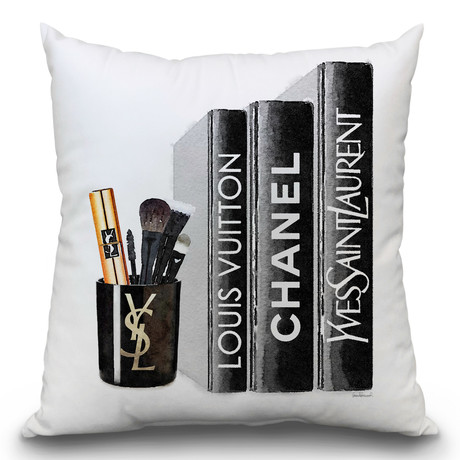 "Bookside Makeup Candle Blk Throw Pillow (16"" x 16"")"