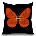 "Fly Like Butterfly H Throw Pillow (16"" x 16"")"