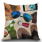 "Beach Day Throw Pillow (16"" x 16"")"