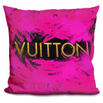 "Vu Pink Splash Gold Throw Pillow (16"" x 16"")"