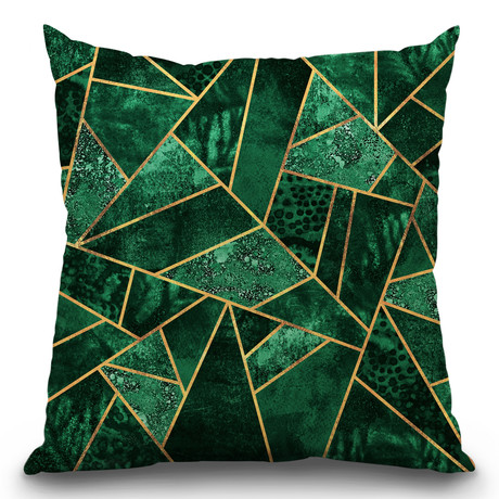 "Deep Emerald Throw Pillow (16"" x 16"")"