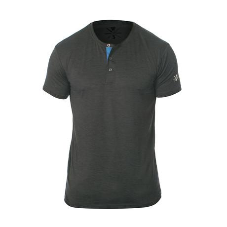 Spar Fitness Tech Short-Sleeve Henley // Charcoal (S)