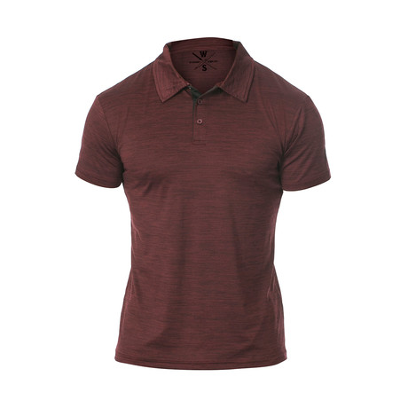 Courtside Dry Fit Fitness Tech Polo // Dark Red (S)