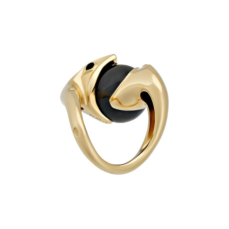 Vintage Boucheron 18k Yellow Gold Onyx Diamond Ring // Ring Size: 5