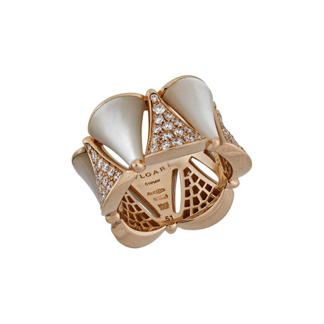 Vintage Bulgari 18k Rose Gold Diamond + Mother of Pearl Ring // Ring Size: 5.25