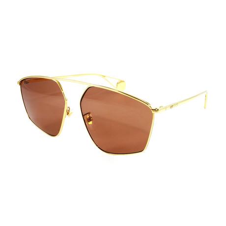 Unisex GG0437SA Sunglasses // Gold + Brown