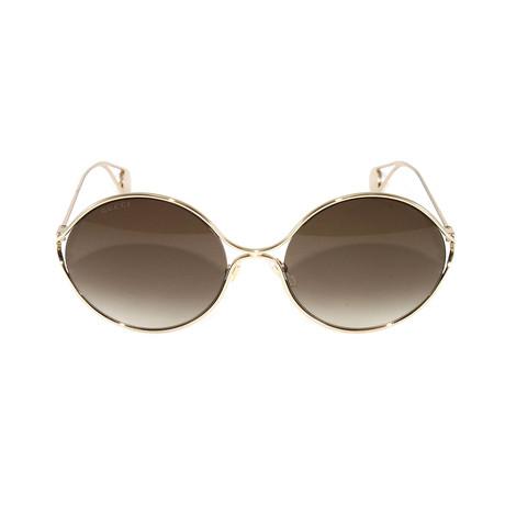 Gucci Women's Sunglasses // GG0253S // Gold + Brown