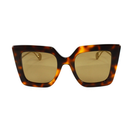 Gucci Women's Sunglasses // GG0435S // Havana + Gold