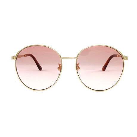 Gucci Women's Sunglasses // GG0206SK // Gold + Pink
