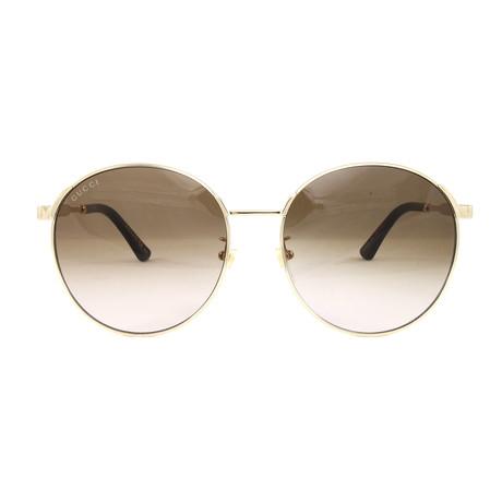 Gucci Women's Sunglasses // GG0206SK // Gold + Light Gray