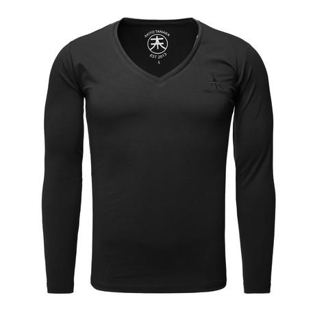 Long Sleeve Basic V-Neck // Black (S)