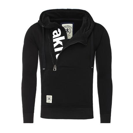 Zip-Up Sweatshirt // Black + White (S)