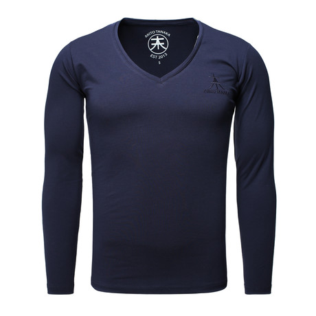 Long Sleeve Basic V-Neck // Navy (S)