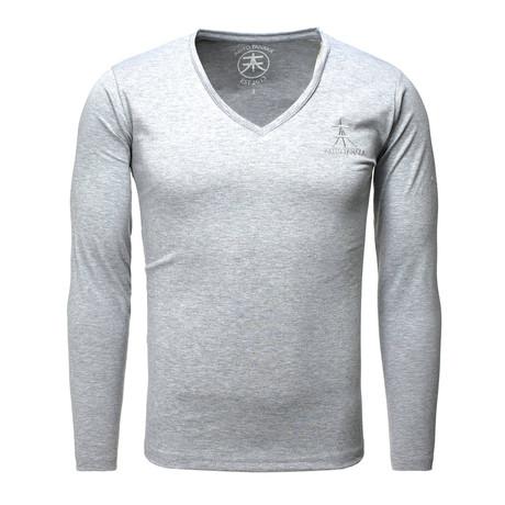 Long Sleeve Basic V-Neck // Gray (S)