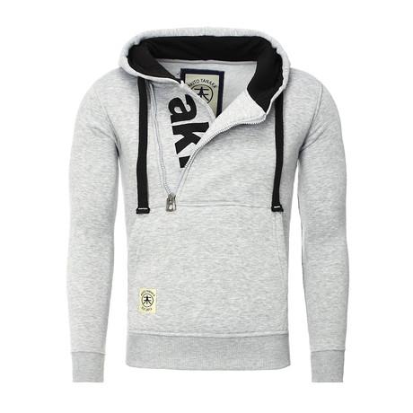 Zip-Up Sweatshirt // Gray + Black (S)