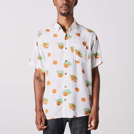 Visitor // Coconut Printed Short Sleeve Shirt // White (M)