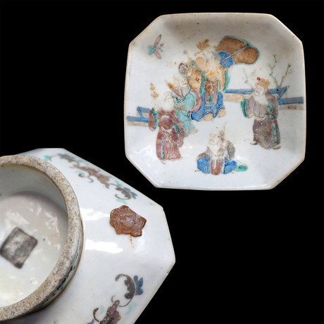 Chinese Porcelain Pedestal Bowl - Family Gathering // Qing Dynasty, China Ca. '1850-1910' CE