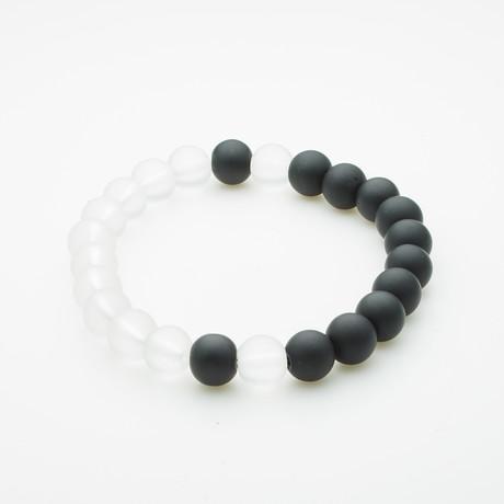 Healing Stone Balance Bracelet // Onyx + Clear Quartz (Small)