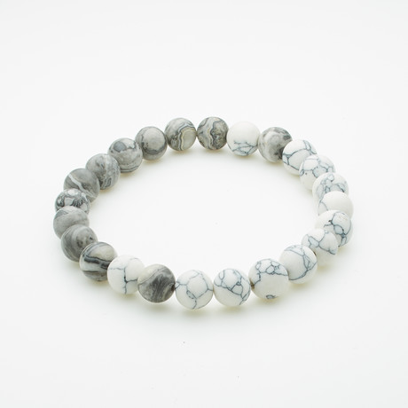 Healing Stone Balance Bracelet // Howlite + Gray Agate (Small)