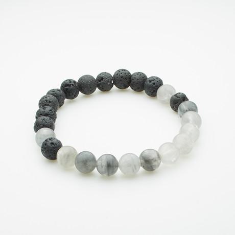 Healing Stone Balance Bracelet // Lava Rock + Cloud Quartz (Small)