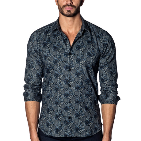 Long Sleeve Shirt // Blue Multi Geometric Paisley (S)
