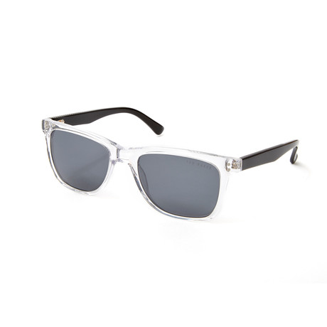 Jordyn Rectangle Polarized Sunglasses // Crystal