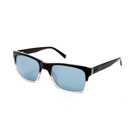 Logan Rectangle Polarized Sunglasses // Black Fade + Clear Crystal