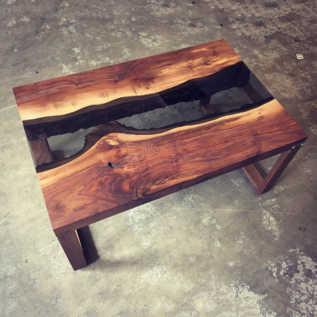 River Series Coffee Table // Black Walnut + Gray Glass