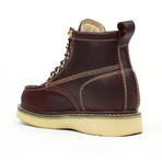 Steel-Toe Classic Wedge Work Boots // Burgundy (US: 7)