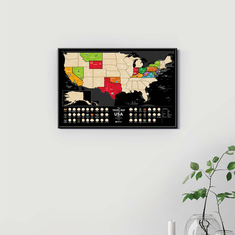 Travel Map // USA Black