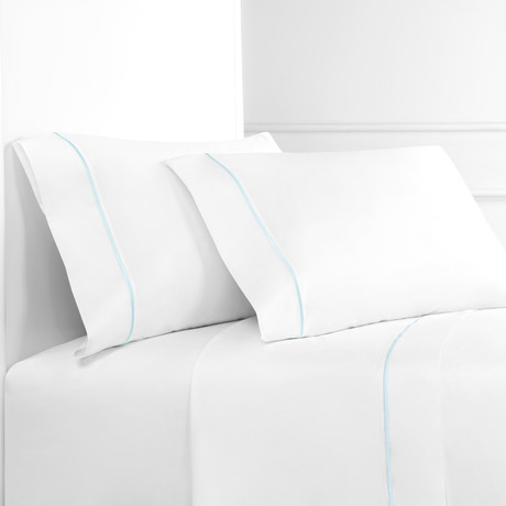 Percale 300 Thread Count Single Marrow Stripe Sheet Set // Aqua + White (Twin)