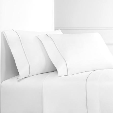 Percale 300 Thread Count Single Marrow Stripe Sheet Set // Gray + White (Twin)