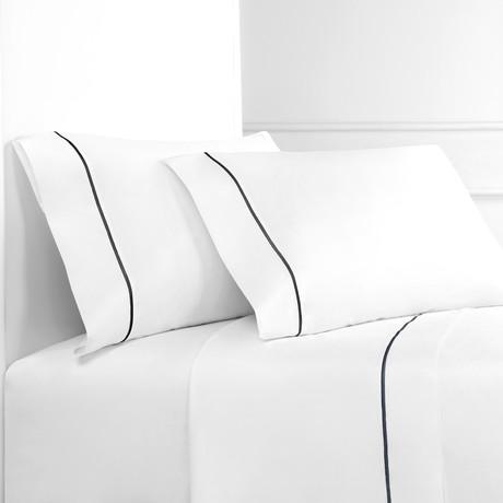 Percale 300 Thread Count Single Marrow Stripe Sheet Set // Charcoal + White (Twin)