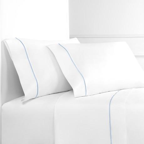 Percale 300 Thread Count Single Marrow Stripe Sheet Set // Blue + White (Twin)