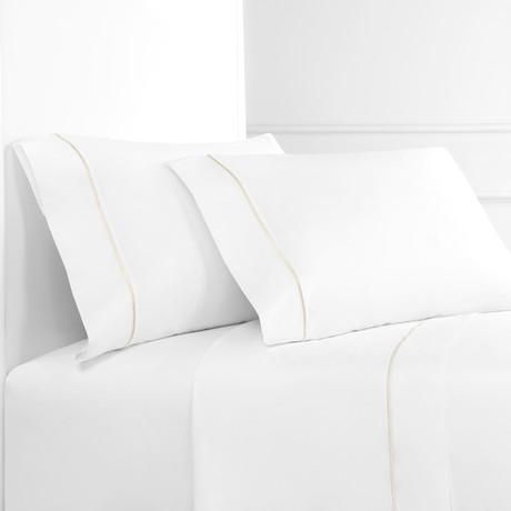 Percale 300 Thread Count Single Marrow Stripe Sheet Set // Ivory + White (Twin)