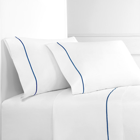 Percale 300 Thread Count Single Marrow Stripe Sheet Set // Navy + White (Twin)