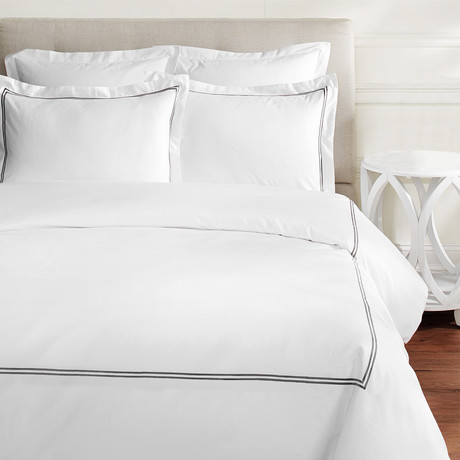 2 Stripe Embroidered Duvet Set // 600 TC // Charcoal Gray (Full/Queen)