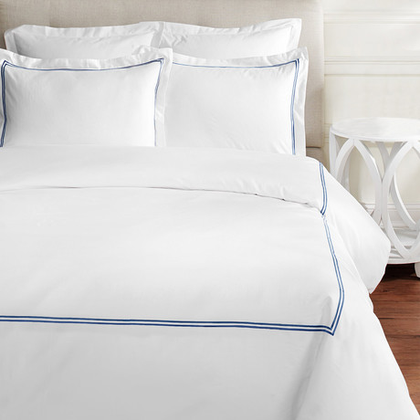 2 Stripe Embroidered Sheet Set // 600TC // Navy (Full)