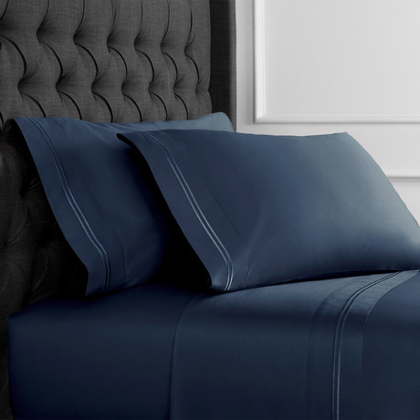 Border Strip Embroidered Duvet Set // 600TC // Navy (Full/Queen)