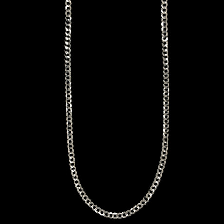 """Solid 14K White Gold Cuban Chain // 4mm (18"""")"""