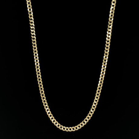 """Solid 14K Yellow Gold Cuban Chain // 4mm (18"""")"""