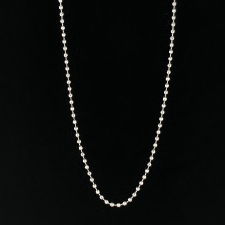 "2mm Ball Bead Chain Necklace // 18K White Gold (18"")"