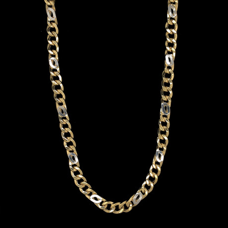 "7mm Figaro Larga Chain Necklace // 18K Two-Tone Gold (22"")"