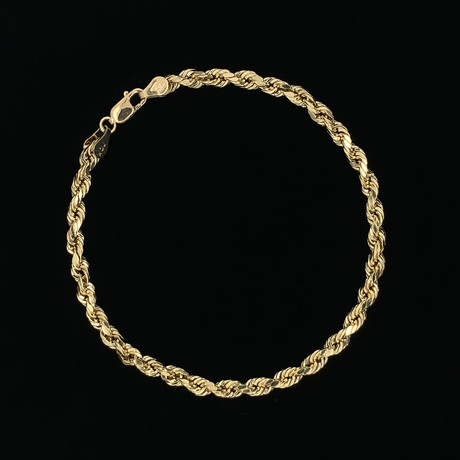4mm Hollow Rope Chain Bracelet // 10K Yellow Gold