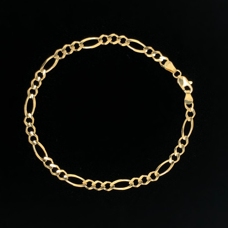 Solid 18K Yellow Gold Figaro Chain Bracelet // 4.5mm