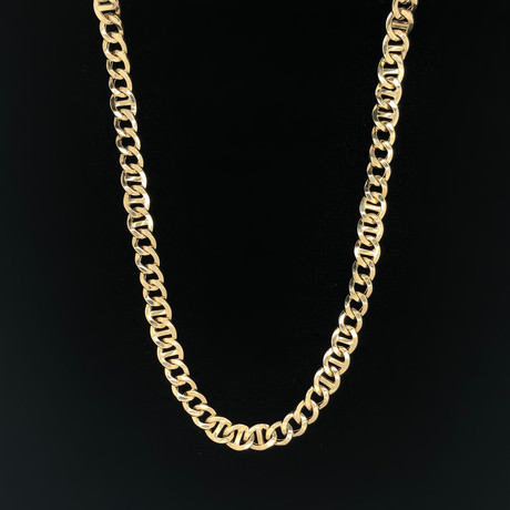 "8mm Cubano Mariner Chain Necklace // 18K Yellow Gold (22"")"