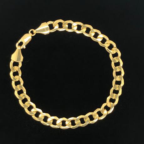 8mm Cuban Chain Bracelet // 18K Yellow Gold