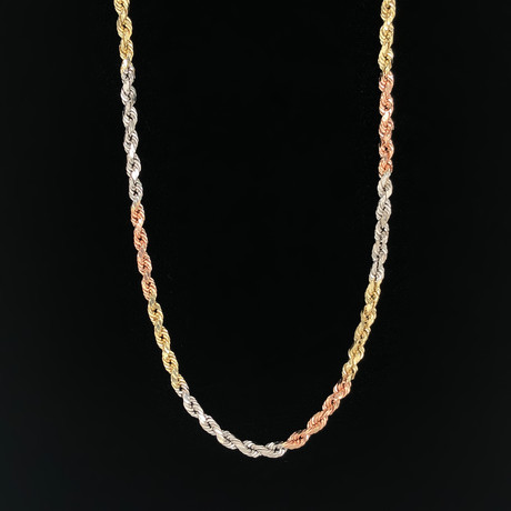 "4mm Rope Chain Necklace // 14K 3-Tone Gold (20"")"