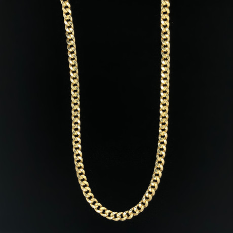 6mm Hollow Miami Cuban Chain Necklace // 10K Yellow Gold