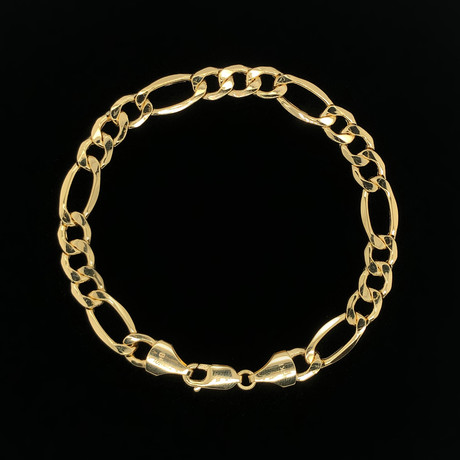 8.5mm Hollow Figaro Chain Bracelet // 14K Yellow Gold